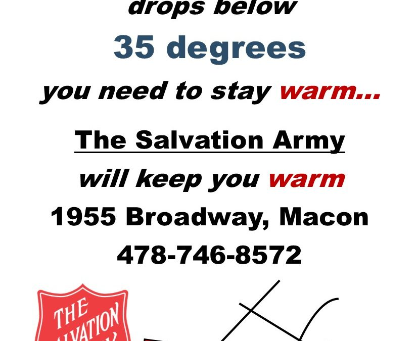 Macon-Bibb EMA, Salvation Army open warming center